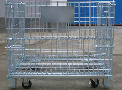 Collapsible Wire Mesh Container with Wheels